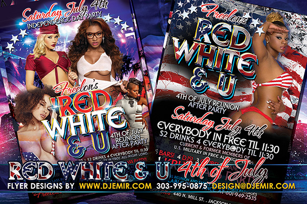 Red White And U July 4th American Independence Day Flyer Design
